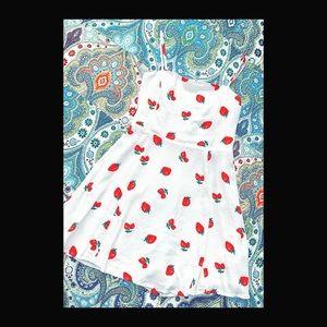 Strawberry White Mini Dress 👗 🍓